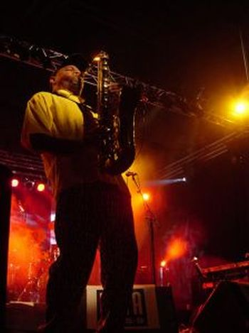 sax player music festival