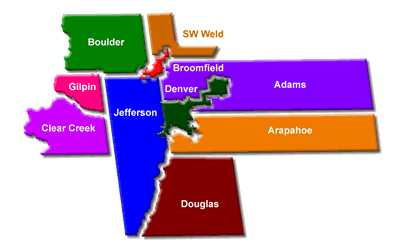 Denver Counties Map  All Ten MetroWide Counties Around