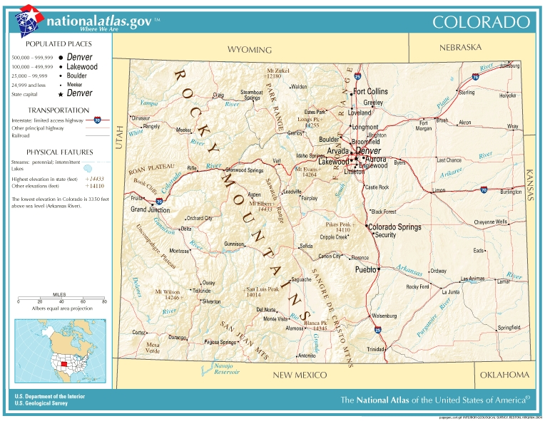 Map Of Colorado State Of Colorado - Monta in us map