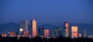 denver skyline at dusk