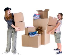 children moving boxes and belongings