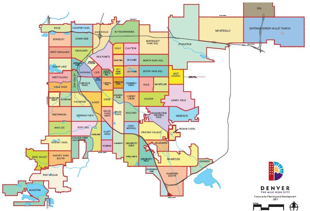 Denver County Map Neighborhood Map Denver | City And County Of Denver CO