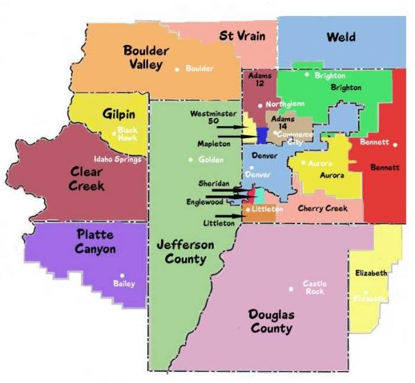 Denver County Map School Districts Area | Metro Denver School Districts Map